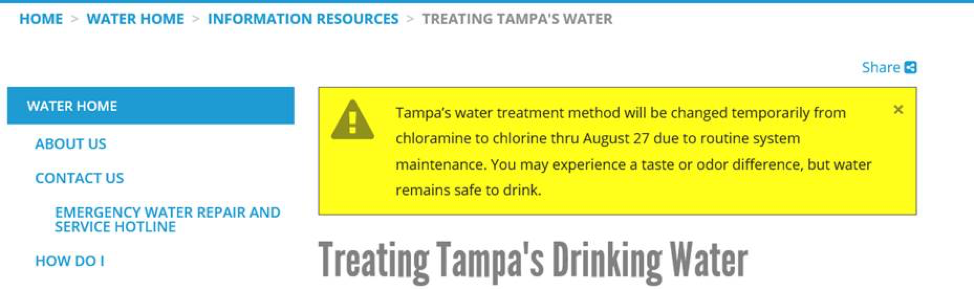 City of Tampa Water Quality Changing
