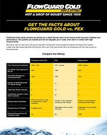 FlowGuard Gold vs PEX Fact Sheet